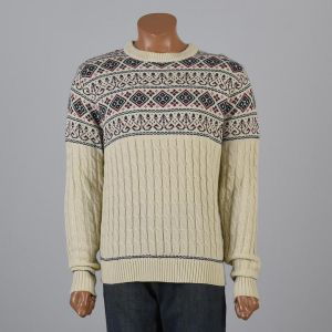 Large 1980s Ski Sweater Cream with Green Red and Blue Nordic Fair Isle Print