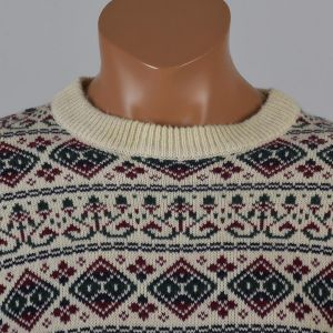 Large 1980s Ski Sweater Cream with Green Red and Blue Nordic Fair Isle Print  - Fashionconstellate.com