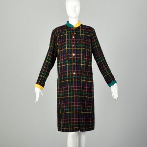 Large Plaid Dress 1980s Colorful Boucle Long Sleeve Gold Button - Fashionconstellate.com
