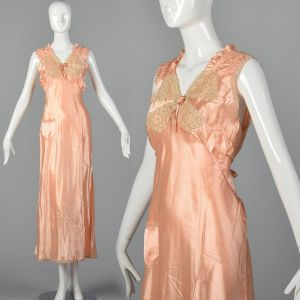 XL 1930s Nightgown Pink Satin Tie Back Waist Sleeveless Loungewear