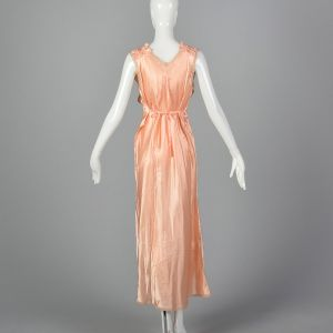 XL 1930s Nightgown Pink Satin Tie Back Waist Sleeveless Loungewear - Fashionconstellate.com