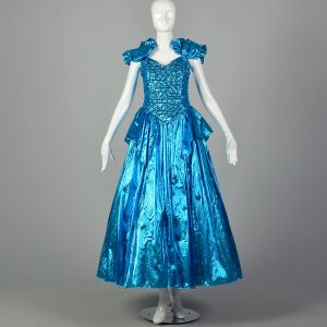 1980s Electric Blue Lame Evening Gown Full Length Formal Prom Dress Sequin Bodice