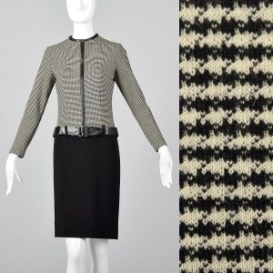Small Black & White Dress 1960s Mod Houndstooth Wool Drop Waist