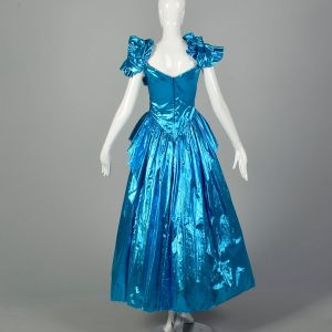 1980s Electric Blue Lame Evening Gown Full Length Formal Prom Dress Sequin Bodice - Fashionconstellate.com