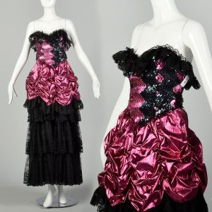 1980s Pink Prom Dress Black Lace Sequins Saloon Girl Strapless Lame Gown