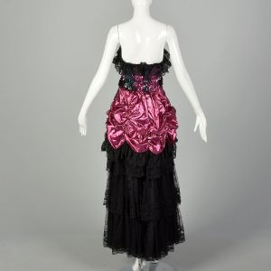 1980s Pink Prom Dress Black Lace Sequins Saloon Girl Strapless Lame Gown  - Fashionconstellate.com