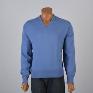 XL 1960s Mens Knit Sweater Blue Pullover Jumper V-Neck Ribbed Knit Waistband