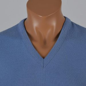 XL 1960s Mens Knit Sweater Blue Pullover Jumper V-Neck Ribbed Knit Waistband  - Fashionconstellate.com