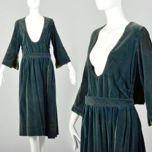 Medium 1910s Dress Edwardian Beaded Velvet Silk