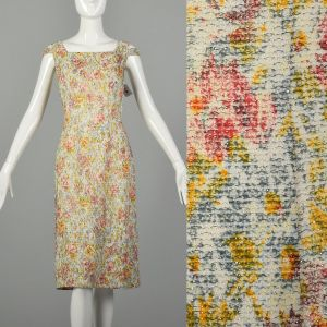 Small 1960s Shayne of Miami Floral Lurex Cocktail Party Dress