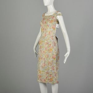 Small 1960s Shayne of Miami Floral Lurex Cocktail Party Dress - Fashionconstellate.com