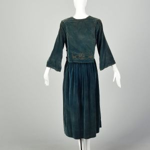 Medium 1910s Dress Edwardian Beaded Velvet Silk  - Fashionconstellate.com