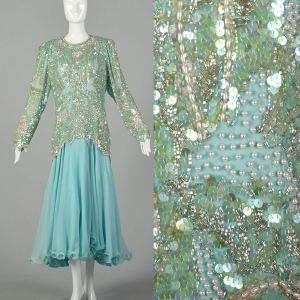 XXL Beaded Dress 1980s Silk Formal Drop Waist Long Sleeve