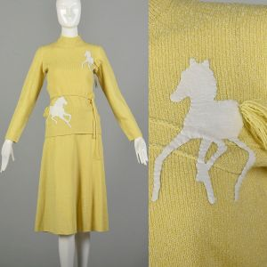 Small 1970s Novelty Horse Knit Separates Long Sleeve Yellow Outfit Top Skirt Separates