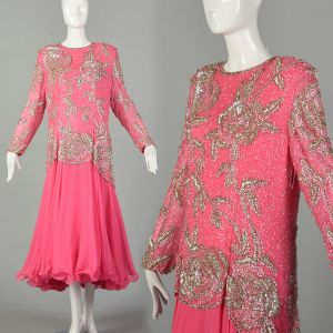 XXL 1980s Pink Formal Dress Silk Beaded Drop Waist Long Sleeves