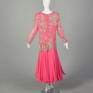 XXL 1980s Pink Formal Dress Silk Beaded Drop Waist Long Sleeves - Fashionconstellate.com