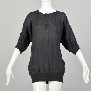 Medium 1990s Black Silk Shirt Loose-Fitting Ribbed Knit Collar Cuffs Destroyed AS IS