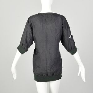 Medium 1990s Black Silk Shirt Loose-Fitting Ribbed Knit Collar Cuffs Destroyed AS IS - Fashionconstellate.com