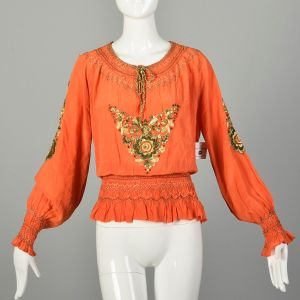 XXL 1930s Orange Silk Blouse Hand Embroidered Hungarian Peasant Top
