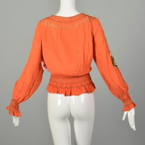 XXL 1930s Orange Silk Blouse Hand Embroidered Hungarian Peasant Top - Fashionconstellate.com