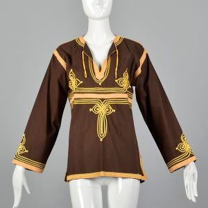Medium 1970s Top  Brown Tunic Long Sleeve Cotton Made in Morocco with Gold Soutache Trim
