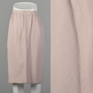 XS Leather Skirt Pastel Blush Pink Knee-Length Pencil Silhouette Minimalist Buttery Soft Leather