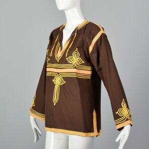 Medium 1970s Top  Brown Tunic Long Sleeve Cotton Made in Morocco with Gold Soutache Trim - Fashionconstellate.com