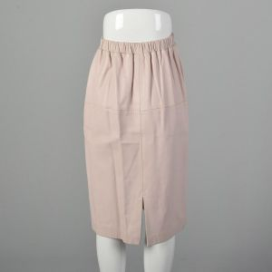XS Leather Skirt Pastel Blush Pink Knee-Length Pencil Silhouette Minimalist Buttery Soft Leather  - Fashionconstellate.com