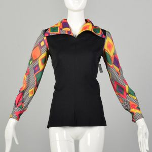 Small 1970s Tunic Top Colorful Long Sleeves Hippie Geometric Print