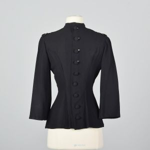 XS 1940s Black Fitted Blouse Sequin Trim Long Sleeve Top Hourglass Waist Evening Shirt - Fashionconstellate.com