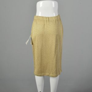 Medium 1990s Skirt St John Collection Gold Knit Glam Disco Pencil Skirt Holiday Cocktail - Fashionconstellate.com