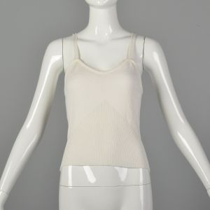 XXS-Small 1980s Camisole Sport White Knit Tank Top with Spaghetti Straps