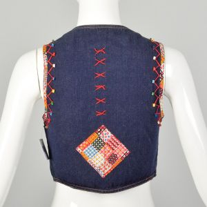 XXS 1970s Cotton Denim Vest Leather Laced Embroidered Beaded Topstitched Embellished Hippie Vest - Fashionconstellate.com