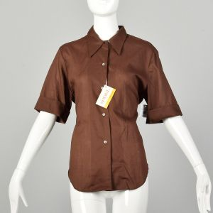 Large 1970s Solid Brown Casual Button Up Shirt Deadstock Short Sleeve Summer Weight Permanent Press