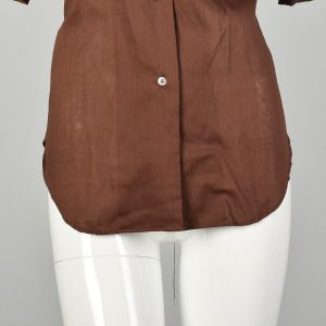 Large 1970s Solid Brown Casual Button Up Shirt Deadstock Short Sleeve Summer Weight Permanent Press - Fashionconstellate.com