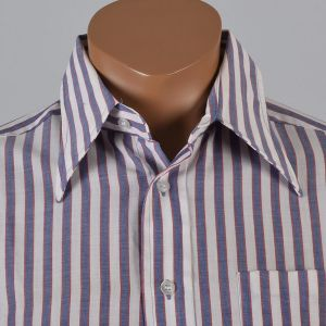 Large 1970s Shirt Red White and Blue Striped Button Down Long Sleeve - Fashionconstellate.com