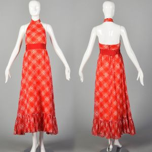 XXS 1970s Red Dress White Plaid Cherry Print Halter Maxi Ruffle Picnic Dress