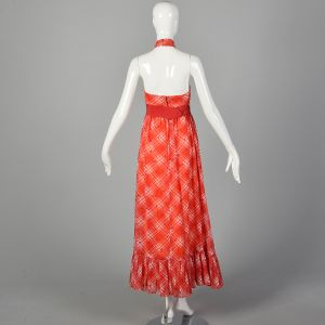 XXS 1970s Red Dress White Plaid Cherry Print Halter Maxi Ruffle Picnic Dress - Fashionconstellate.com