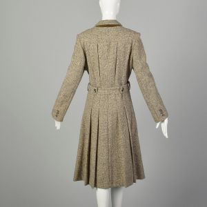 Small 1970s Coat Brown Wool Tweed Bohemian Winter Princess Outerwear - Fashionconstellate.com