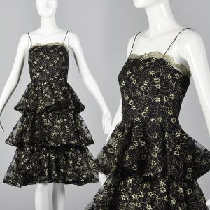 Small 1980s Lillie Rubin Dress Black and Gold Lace Ruffle Skirt Evening Cocktail Party