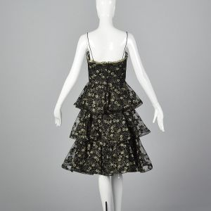 Small 1980s Lillie Rubin Dress Black and Gold Lace Ruffle Skirt Evening Cocktail Party - Fashionconstellate.com
