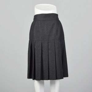 Small 1990s Chanel Boutique Gray Skirt Wool Pleated Logo Button Silk Lining