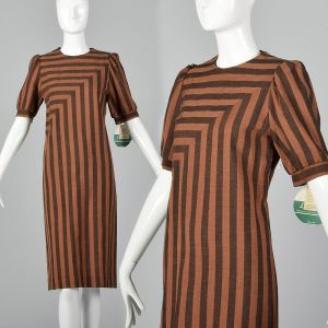 Medium 1980s Leslie Fay Dress Brown and Black Stripe Deadstock