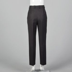 Medium 1990s Dolce & Gabbana Gray Trousers Red Pinstripe Gray Pants Pleated Front Tapered Leg  - Fashionconstellate.com