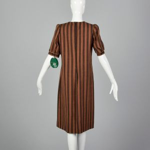 Medium 1980s Leslie Fay Dress Brown and Black Stripe Deadstock - Fashionconstellate.com