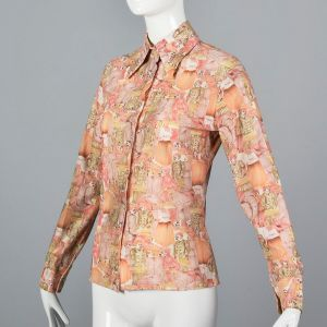 Medium Pink Top 1970s Peach and Orange Novelty People Print Blouse Long Sleeve Button Up Shirt - Fashionconstellate.com