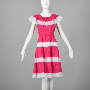 Small Hot Pink Dress 1980s Ruffle Off The Shoulders Lace Inserts Mexican Style Sundress