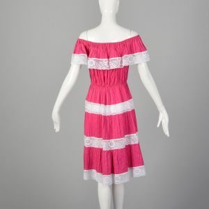 Small Hot Pink Dress 1980s Ruffle Off The Shoulders Lace Inserts Mexican Style Sundress - Fashionconstellate.com