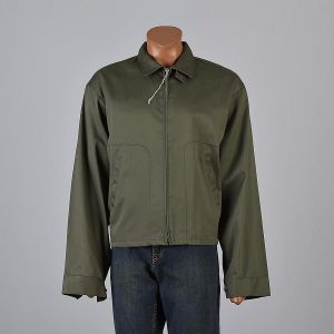 XXXL Mens 1950s Jacket Olive Green Zip Front Collared Industrial Work Workwear Long Sleeve