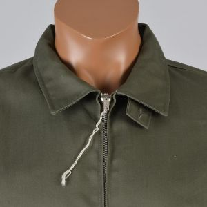 XXXL Mens 1950s Jacket Olive Green Zip Front Collared Industrial Work Workwear Long Sleeve - Fashionconstellate.com